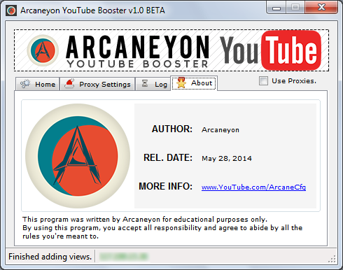 Arcaneyon YouTube Booster [2014 / Bypass 301 Views / Proxy